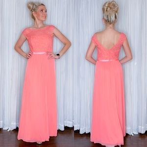 David Bridal Parfait Coral Bridesmaid Dress